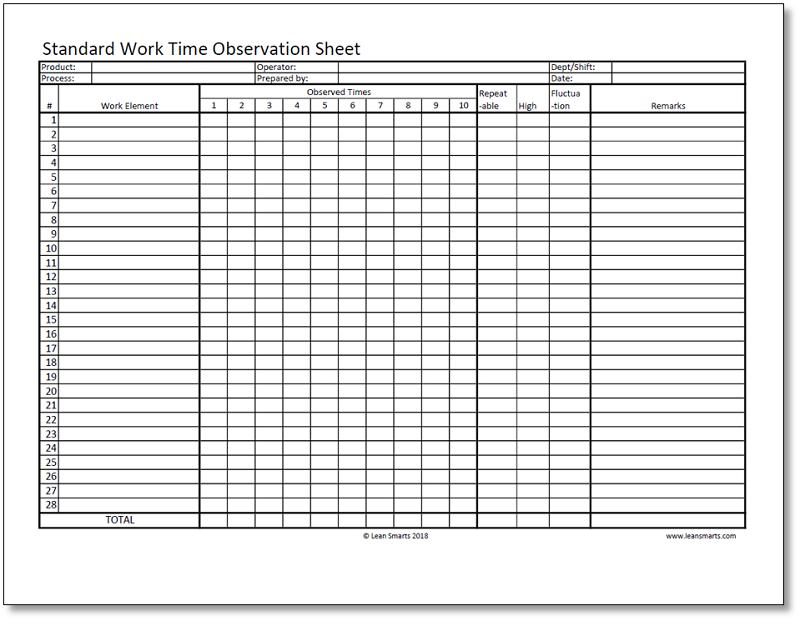 Standard Work Time Observation Sheet Template